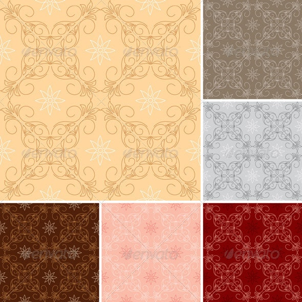 Set - Dark and Light Seamless Patterns - Patterns Decorative