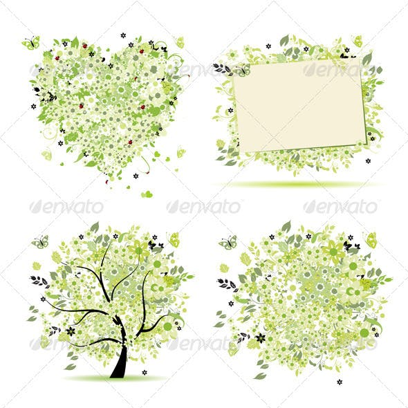 Spring style - tree, frame, bouquet, heart