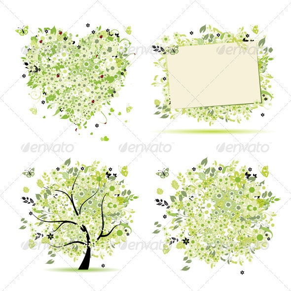 Spring style - tree, frame, bouquet, heart - Seasons Nature