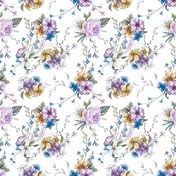 Raster Watercolor Floral Pattern