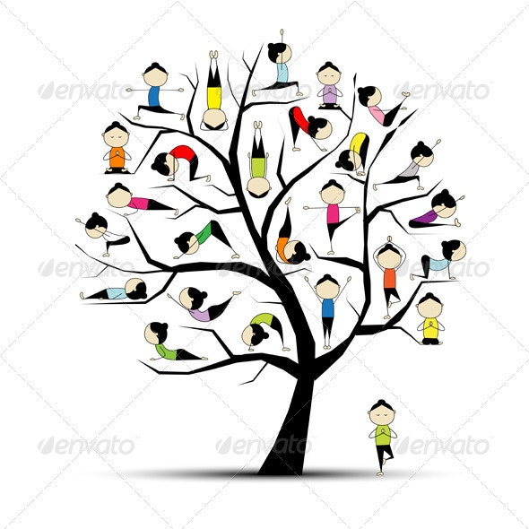 Yoga practice, tree concept for your design - Sports/Activity Conceptual