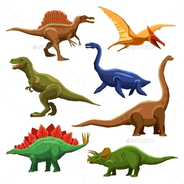 Dinosaurs Color Icons Set