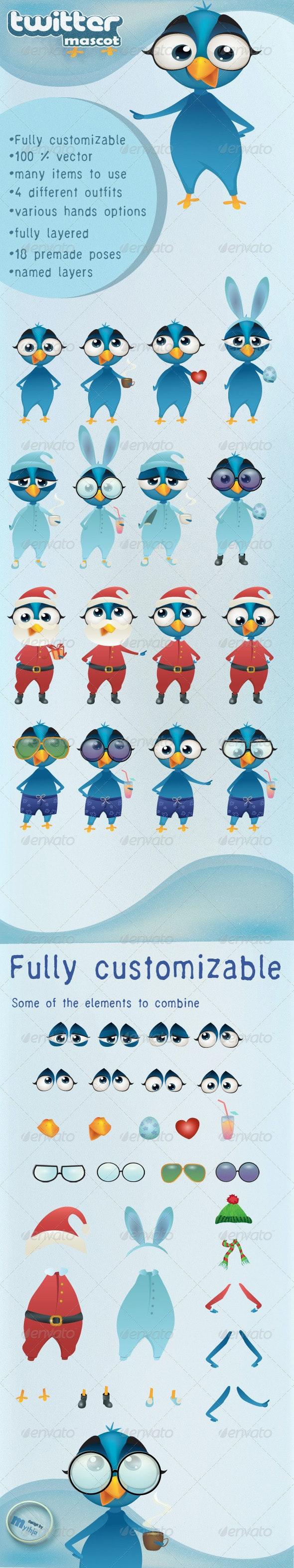 Twitter bird vector mascot - fully customizable - Characters Vectors