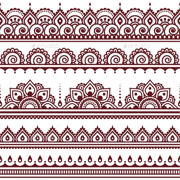 Mehndi Indian Henna Tattoo Brown Seamless Pattern, design elements