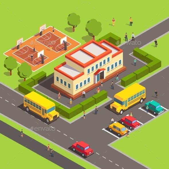 Isometric School Building with People
