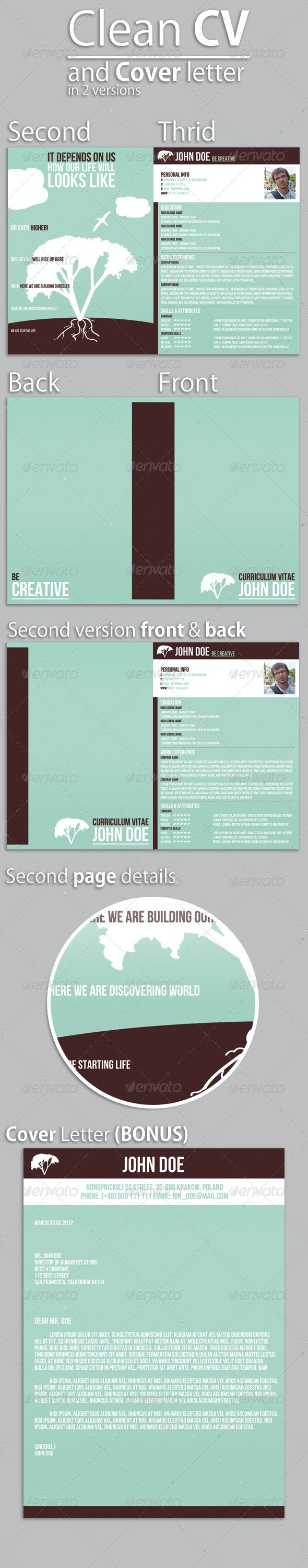 Clean CV & Cover Letter - Resumes Stationery
