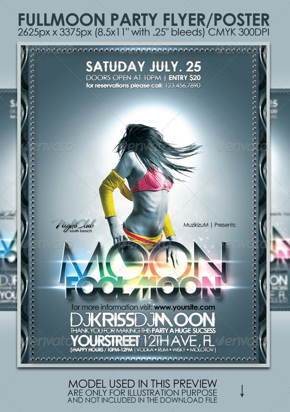 Fullmoon Party Flyer/Poster - Clubs & Parties Events