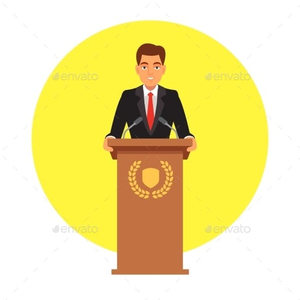 Public Speaker Speaking to Microphones