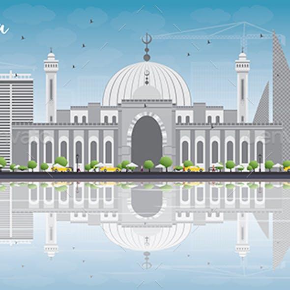 Manama Skyline with Gray Buildings and Blue Sky