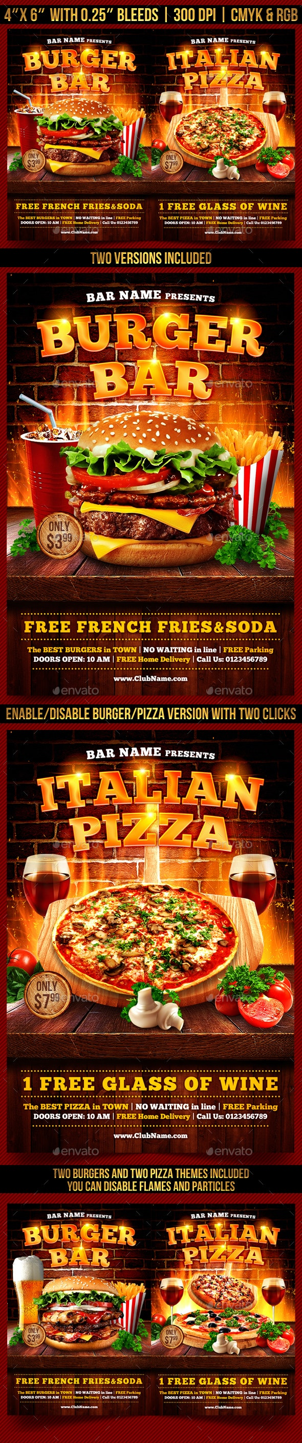 Burger and Pizza Flyer Template - Restaurant Flyers