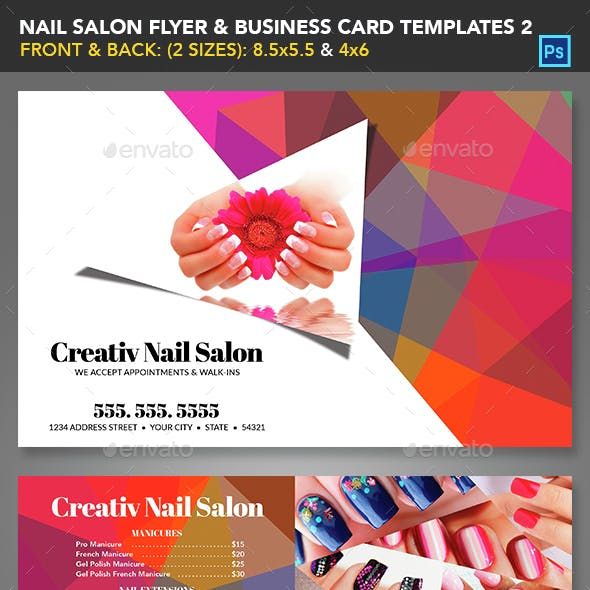 Nail Salon Flyer & Business Card Templates 2