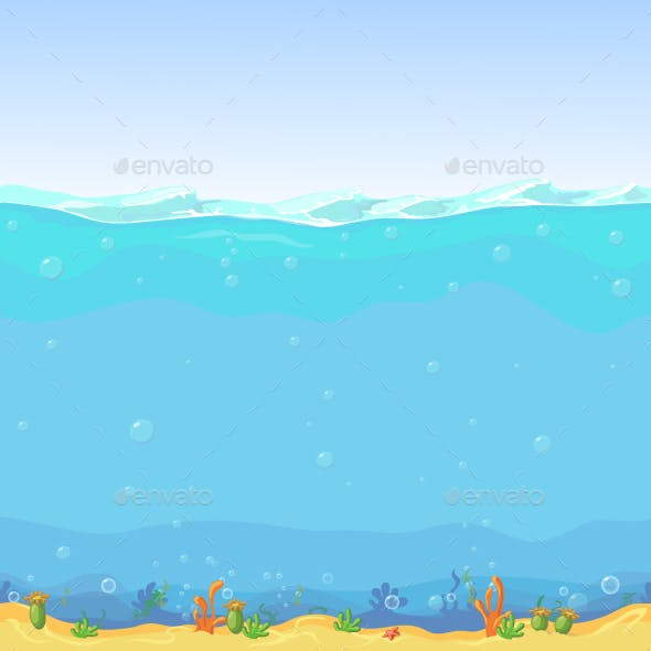 Underwater Seamless Landscape Cartoon Background