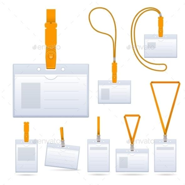 Lanyard Name Tag Holder Badge Templates - Miscellaneous Vectors