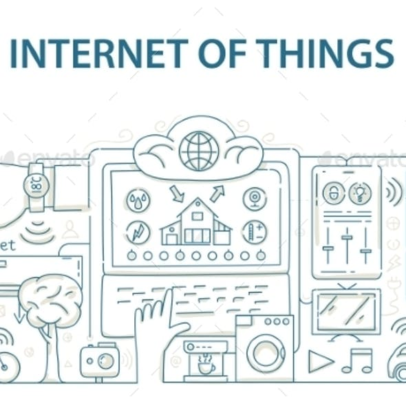 Doodle Style Design Concept of Internet of Things
