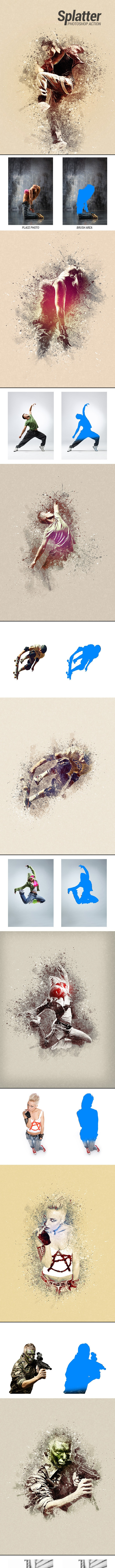 Splatter - Photoshop Action - Photo Effects Actions