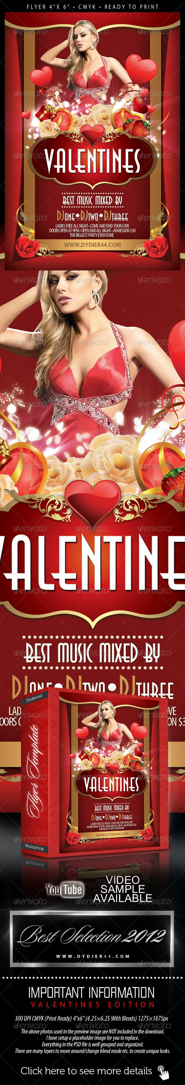Sensual Valentines (Flyer Template 4x6) - Clubs & Parties Events