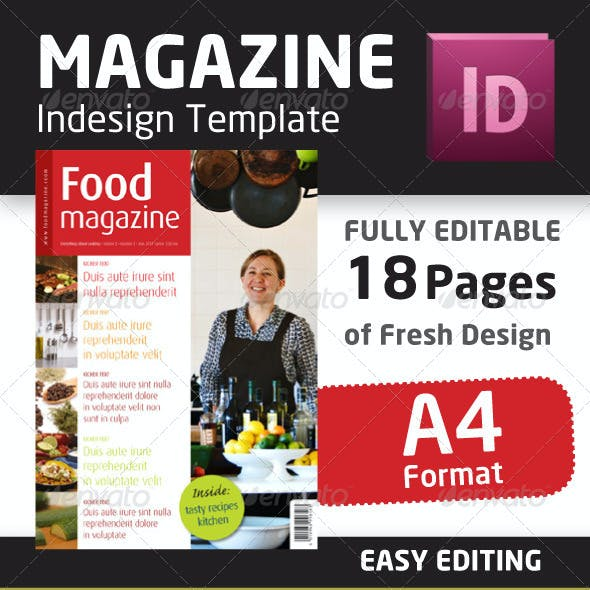 Indesign Food Magazine Template in A4 format