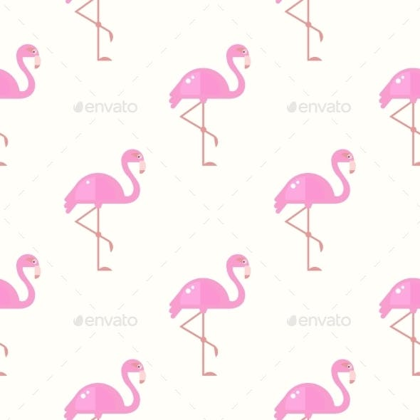 Flamingo Bird Background. Retro Seamless Pattern