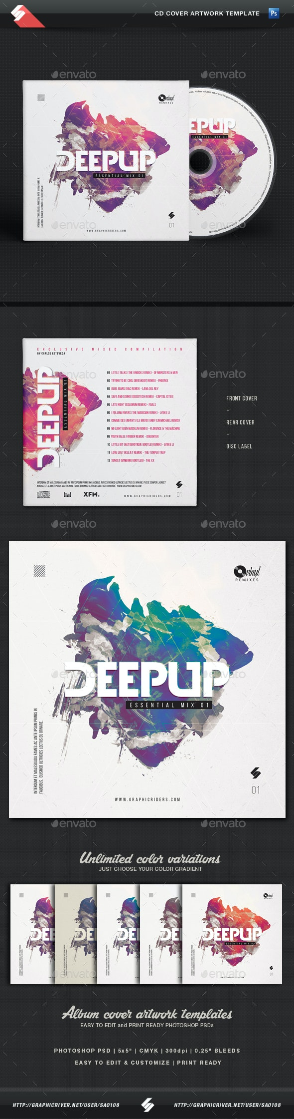 Deep Up - Dj Mix CD Cover Artwork Template - CD & DVD Artwork Print Templates