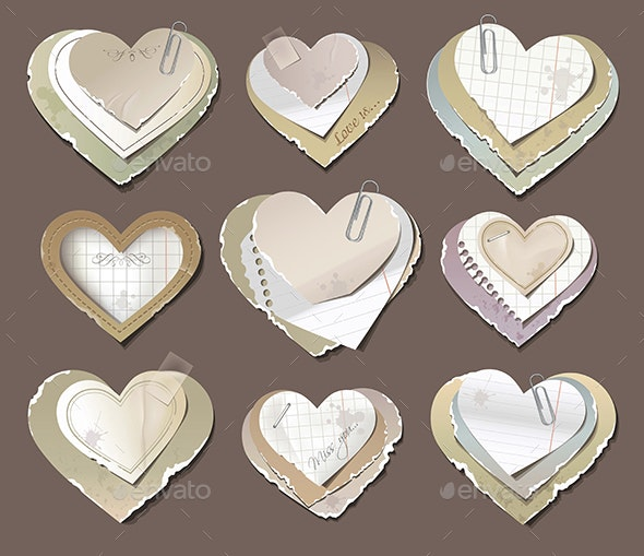 Old Torn Paper Hearts - Retro Technology