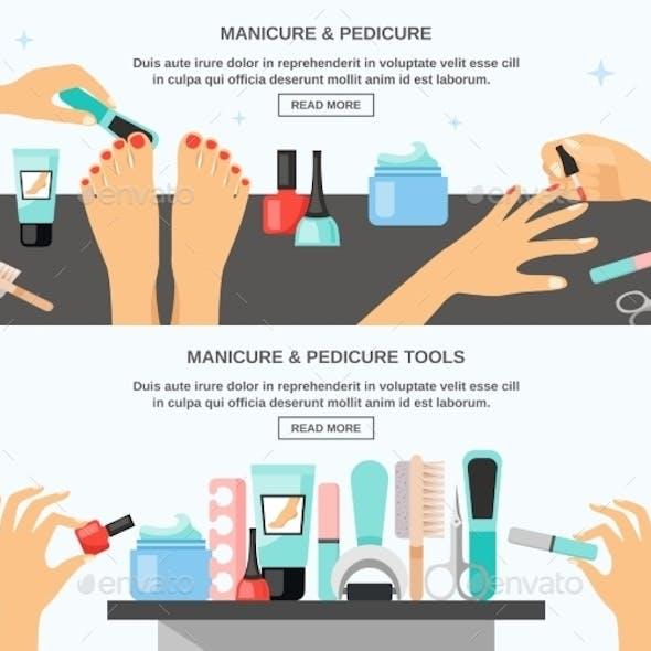 Manicure Pedicure Accessories 2 Flat Banners