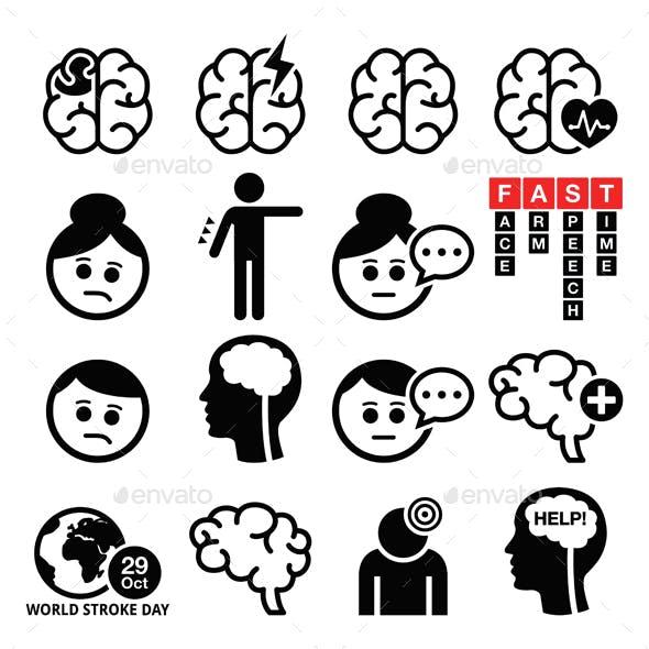 Brain Stroke Icons - Brain Injury, Brain Damage Concept