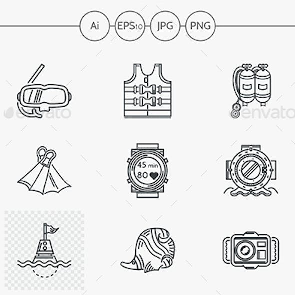 Diving black linear vector icons set