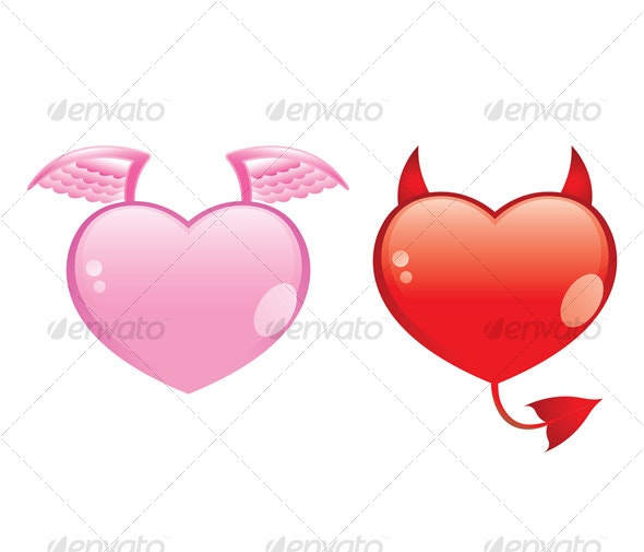 angel and devil hearts - Valentines Seasons/Holidays