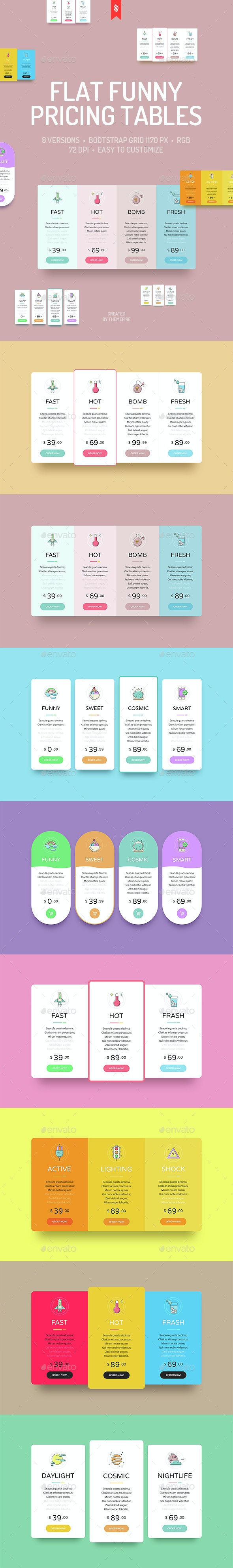 Funny Pricing Tables - Tables Web Elements