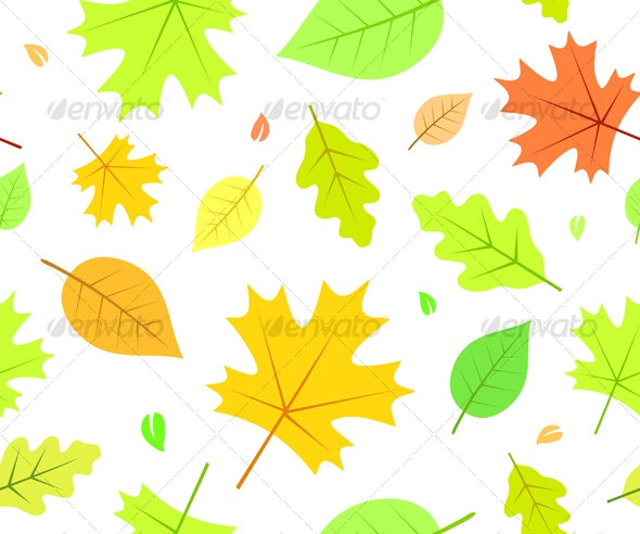 Seamless Autumn Pattern with Leaves - Backgrounds Decorative
