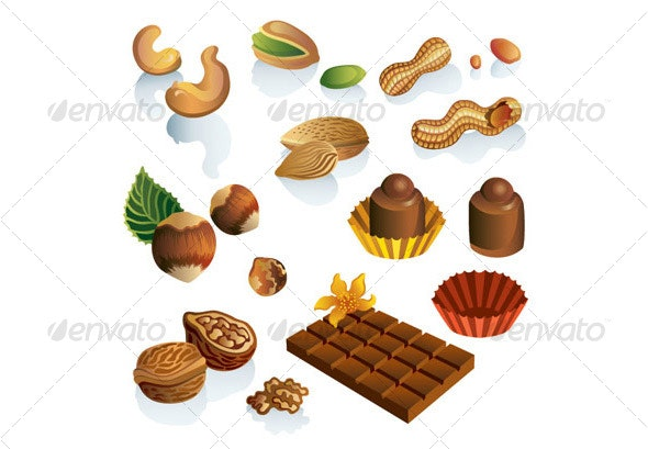 Set of nuts and chocolate sweets - Food Objects
