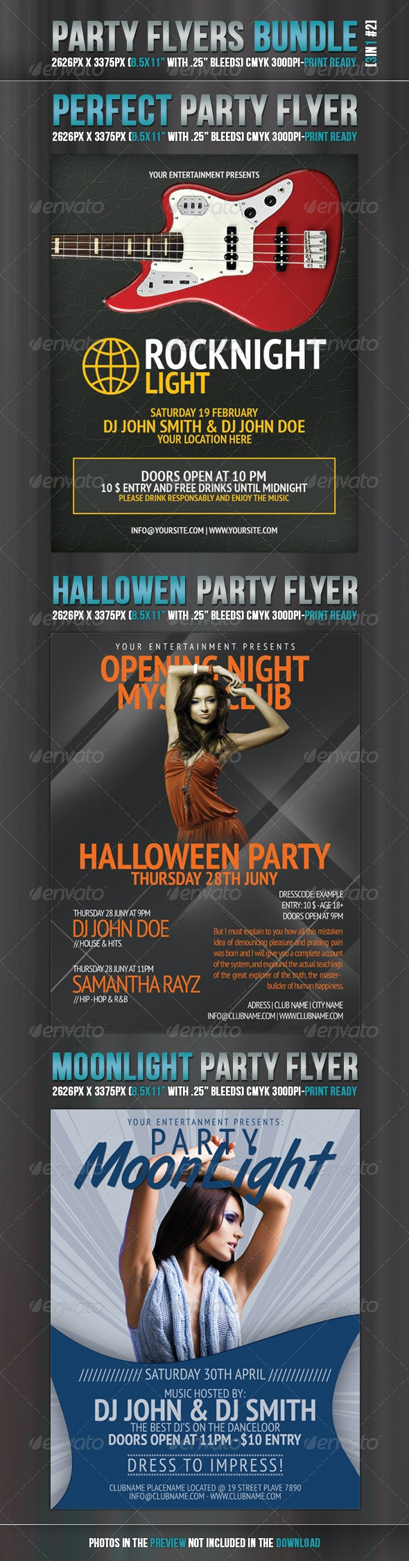Party Flyers Bundle 3in1 #2 - Clubs & Parties Events