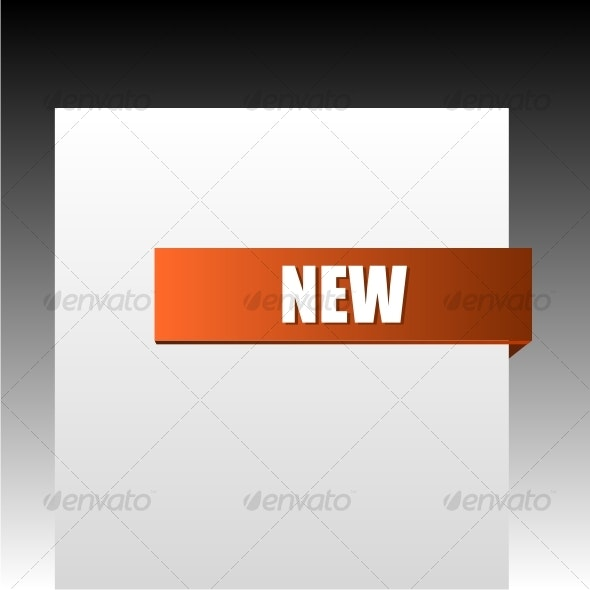 New orange corner business ribbon - Decorative Symbols Decorative