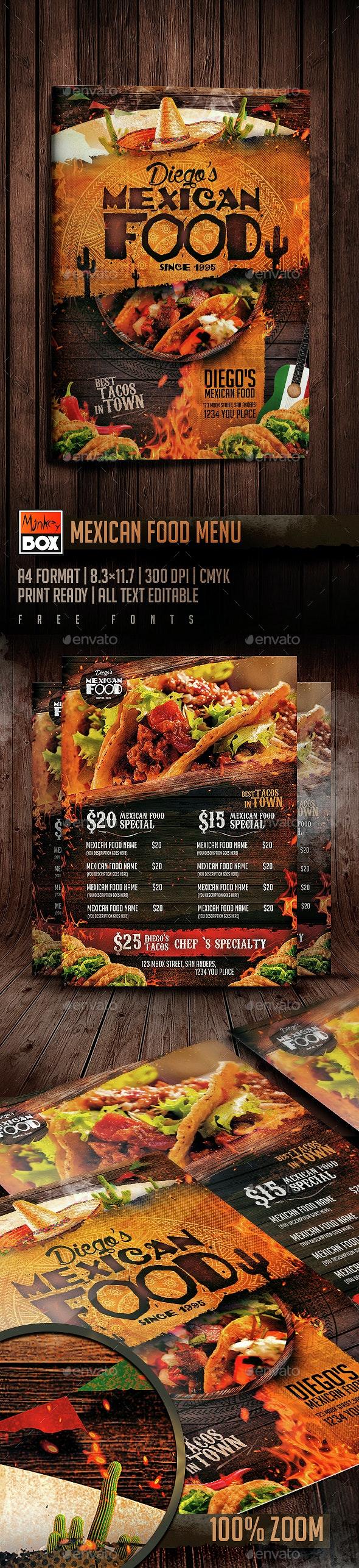 Mexican Food Menu - Restaurant Flyers
