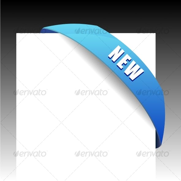 New blue corner business ribbon