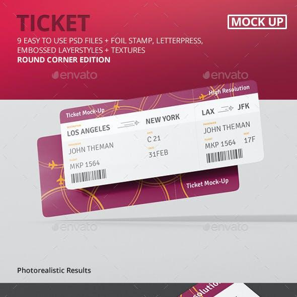 Ticket Mockup - Round Corner
