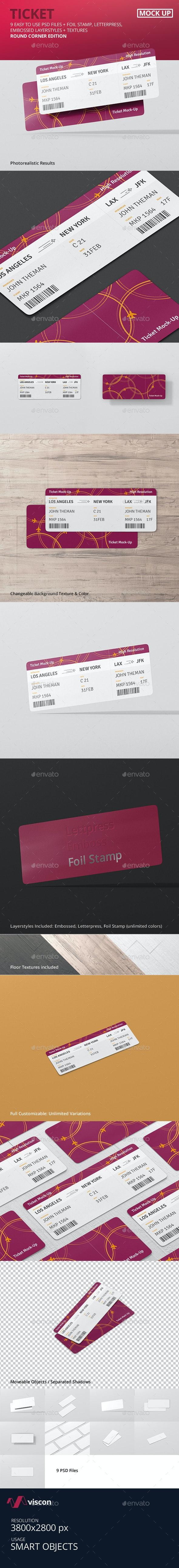 Ticket Mockup - Round Corner - Miscellaneous Print