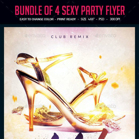 Bundle of 4 Sexy Party Flyers