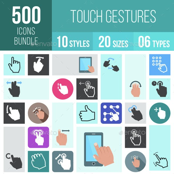 500 Touch Gestures Icons Bundle