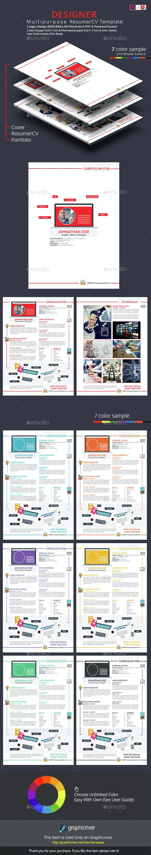 Designer Resume CV Template - Resumes Stationery
