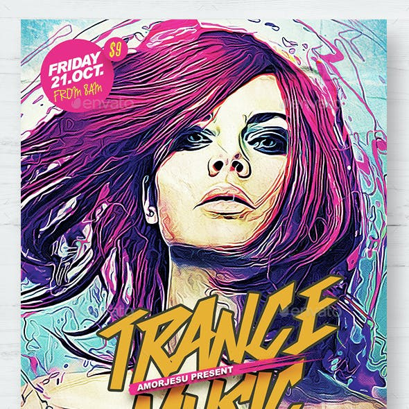 Trance Music Flyer Template