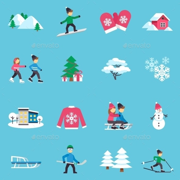 Winter Flat Icons Set - Abstract Icons