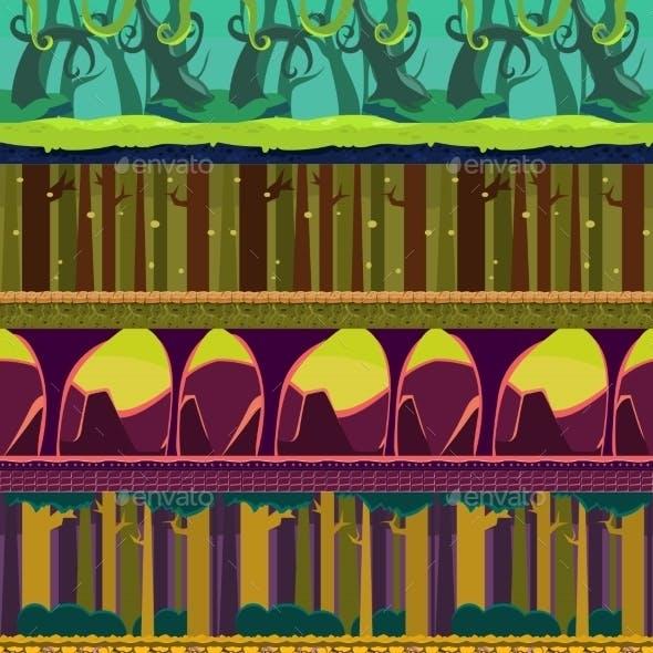 Seamless Landscape, Cartoon Fantastic Background