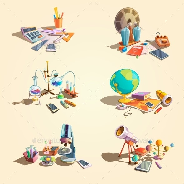 Science Retro Cartoon Set - Miscellaneous Conceptual