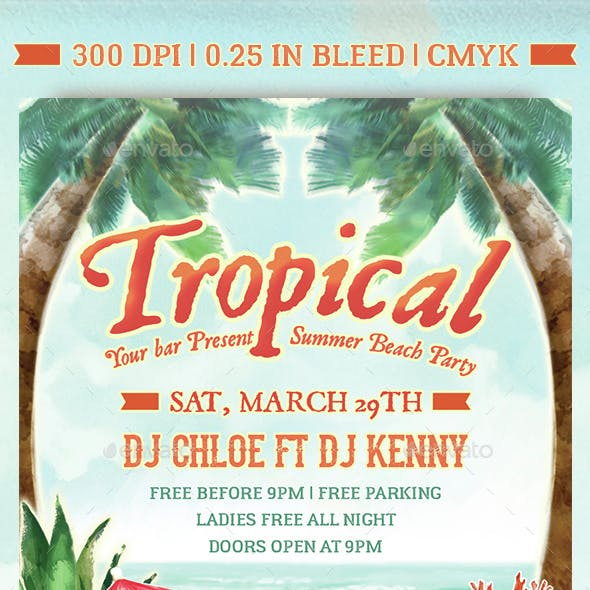 Tropical Beach Summer Party