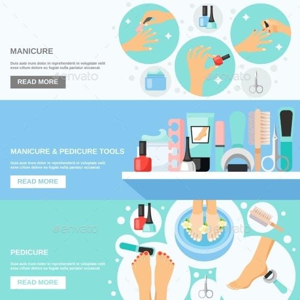 Manicure Pedicure Tools 3 Flat Banners