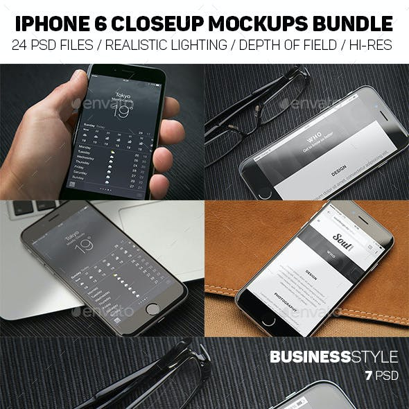 iPhone 6 Closeup Mockups Bundle