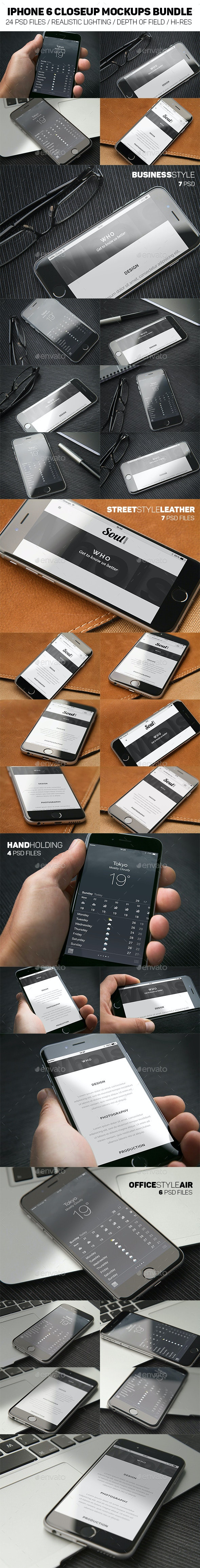 iPhone 6 Closeup Mockups Bundle - Mobile Displays