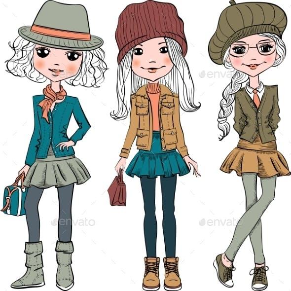 Set of Fashion Hipster Girls