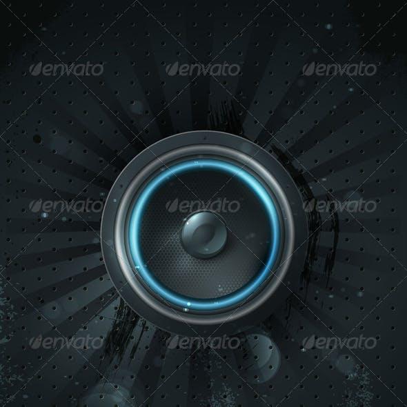 Vector musical speaker icon on a dark background